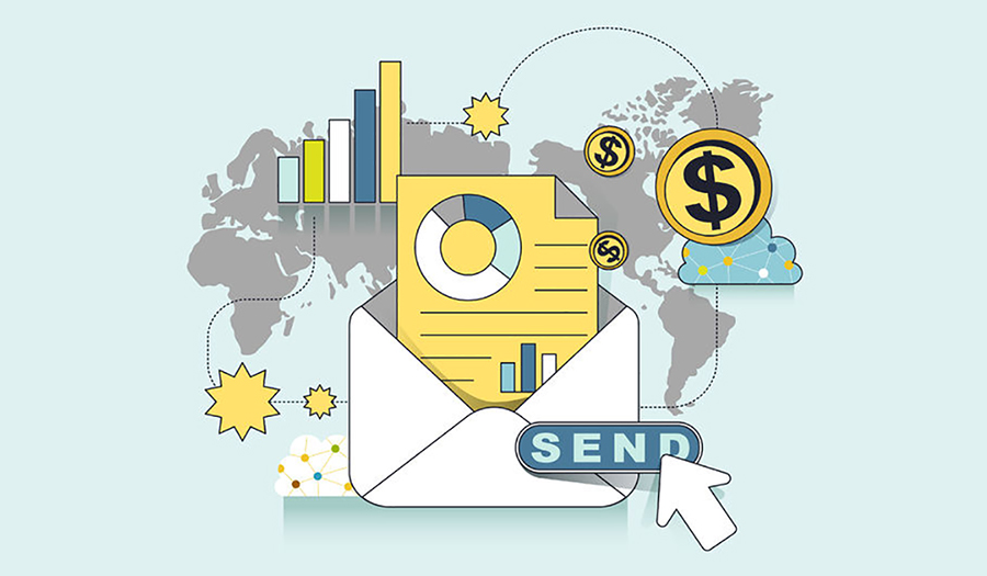 41169823 - e-mail marketing concept: ready to send an e-mail in line style